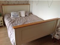 Double bed - Wooden bed frame with mattress (cream and wood)