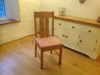 6 large, tall, pine, heavy chairs, all with Laura Ashley cushions