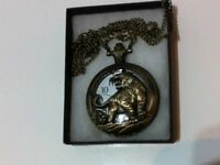 Unisex Interesting Fashion Jewelry Antique Vintage Bronze Tiger Quartz Pocket