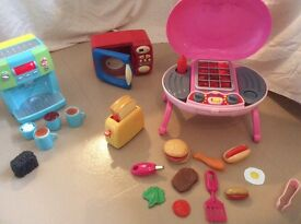 Children's toy Coffee Machine, microwave, toaster and BBQ bargain bundle