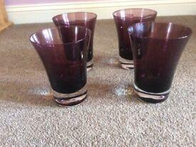 4 plum tumblers.