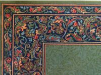 Stylish dark green wool rug 300 x 200 cms