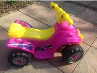 GIRLS PINK/YELLOW BATTERY POWERED QUAD BIKE STILL AVAILABLE