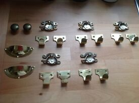 Gold tone sash window hardware and door handles
