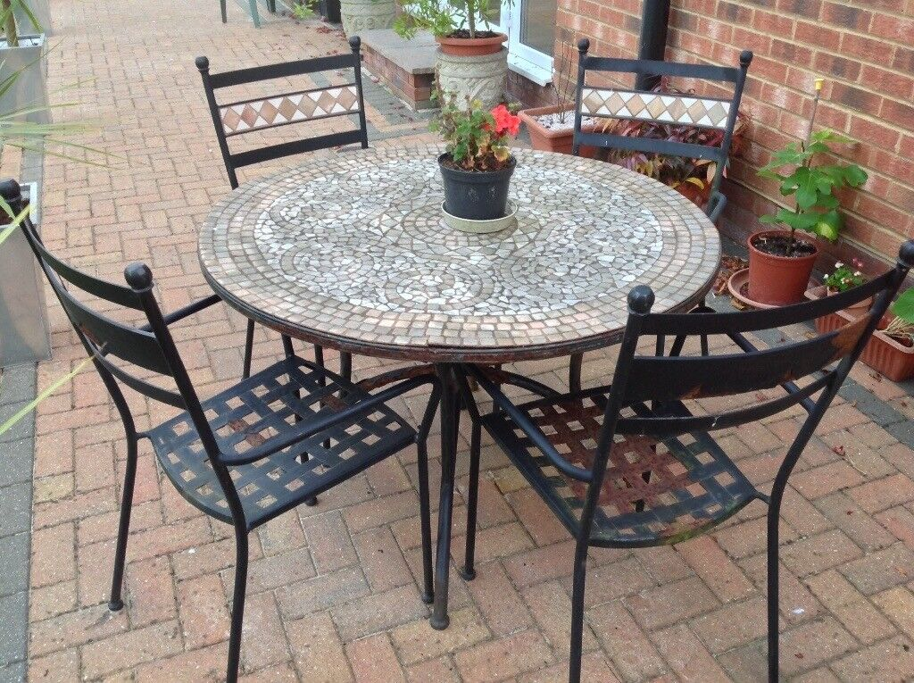 Free Garden Furniture! Mosaic Tile Table and 4 Chairs.