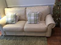 GOING FREE !!!!CREAM 3 SEATER LEATHER SOFA