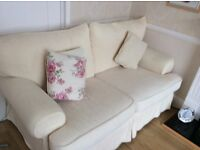 Cream 3 seater and 2 seater fabric exchangeable cover sofa suite