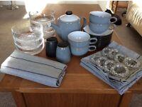 Denby Jet Grey/Black Collection, Bowls, Cups, Teapot, Saucers, Salt, Pepper, Napkins, Table Runner