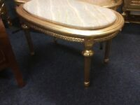 Gold marble top coffee table