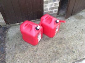 2 large petrol cans for sale in red