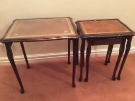 Set of nester tables. Top table 43cmx53 and has a glass top.All tables have leather surface