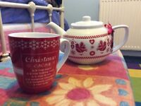 Christmas teapot and mug