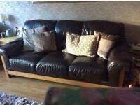 Brown leather 3 seater sofa chair and pouffee