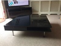 IKEA black gloss coffee table with 2 drawers