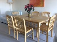Dining Table and 6 chairs - Modern Quality Light Wood
