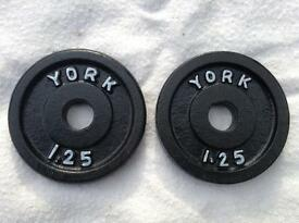 12 x 1.25kg York v2 Standard Cast Iron Weights