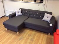 Healy Grey Fabric Corner Sofa - Ex Display - £349 Including Free Local Delivery