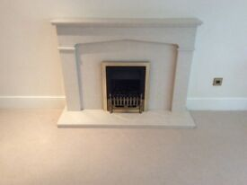 Great looking, stylish marble/stone effect fireplace surround and hearth