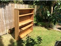 A set of solid pine book shelves