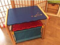 Children's Wooden Desk & Storage Stool (£12)