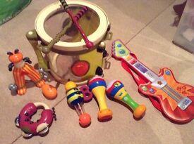 Drum, guitar and maracas