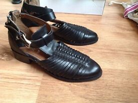 Ladies new black leather shoes