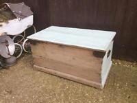 Vintage pine storage chest trunk blanket box