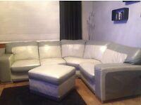 Corner sofa two tone grey leather +stool