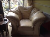 Free Dansk leather 2 seater sofa, armchair and foot stool