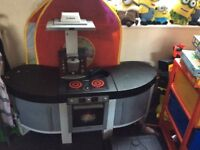 Toy kitchen- one year old hardly used, comes with pretend food, plates, cups, ect. Some bits missing