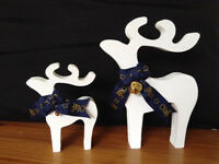 mdf stag reindeer christmas decorations ornaments hand painted bells bows ribbons various colours