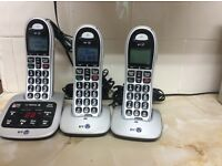Set of 3 portable phones including answer machine