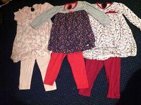 3 lovely baby girl dress and leggings sets all 12-18 months