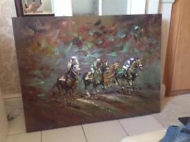 Picture. Painting of Dramatic Horse Race