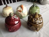 5 different pickle and chutney decorative bowls