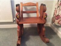 Wooden carved teddy bear rocking chair