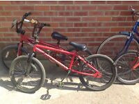 2 x bmx bikes holdsworth and apollo joblot