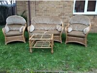 MINT MEGA DEAL 4 PIECE RATTAN SEATING / CHAIR SET WITH COFFEE / TEA TABLE / CONSERVATORY SET