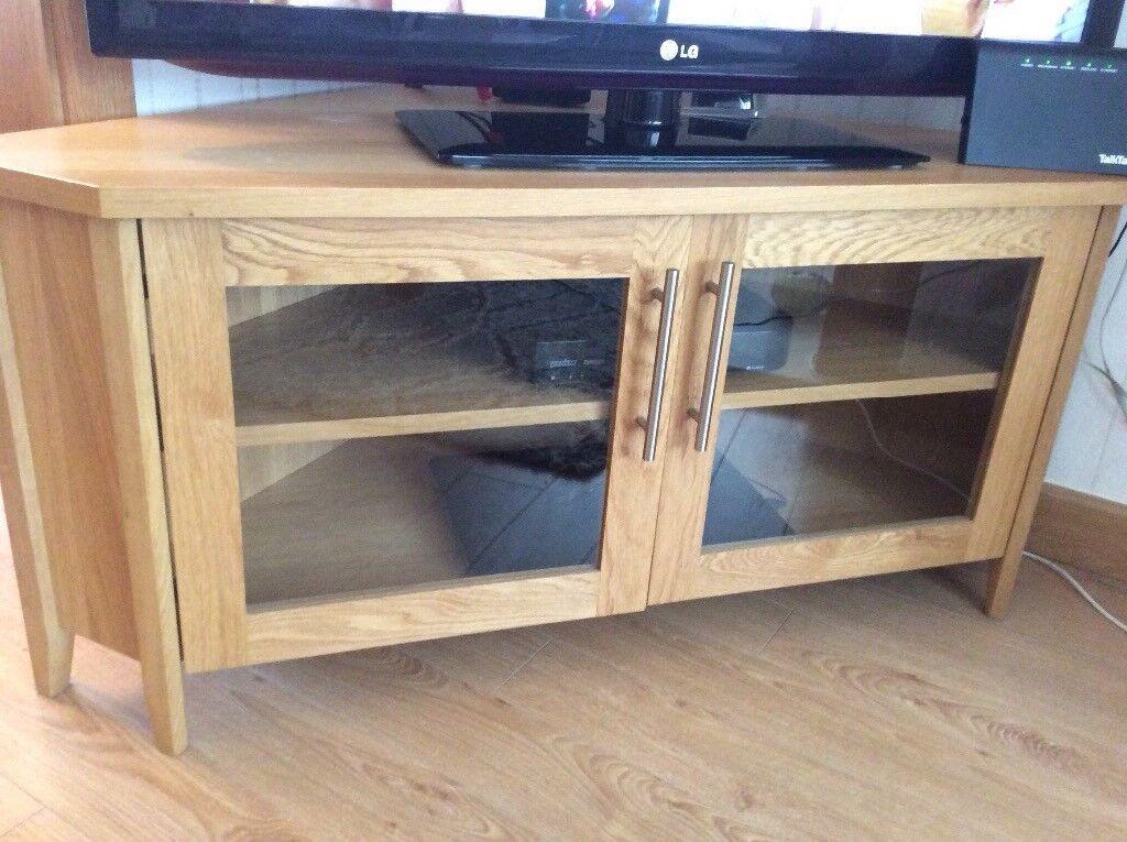 Oak Corner Tv Cabinet With Gl Fronted Door In Clock Face Merseyside Gumtree