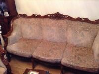 Sofa set with two arm chairs and coffee table
