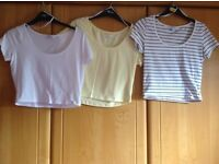3 x size 12 crop T/Shirts. Clean and immaculate. Price is for ALL 3 and NOT each !! Hols, uni, bed ?