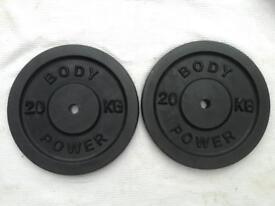 2 x 20kg Bodypower Standard Cast Iron Weights