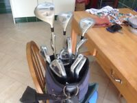 Set of ladies Donna golf clubs with golf bag