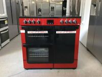 Newworld Vision 90E 90cm Electric Range Cooker with Ceramic Hob - Red RRP £779