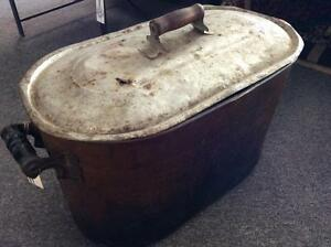 Antique Copper Boiler with Lid and Handles
