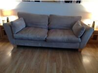 3 seater sofa mink/cream fabric sofa must be gone by 2nd March £100 ONO