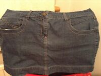 Blue denim mini skirt, size 16. Check out my other items for sale, great prices!