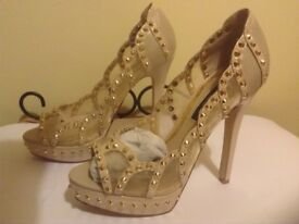 Womens size 5 , River Island beige and gold stud heels in excellent condition