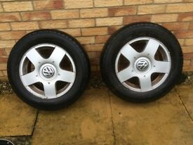VW golf mk 4 pair of wheels and tyres
