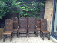 6 Carved Wainscot Dining Chairs - Made by Crown Guild of Master Woodcarvers £2k new